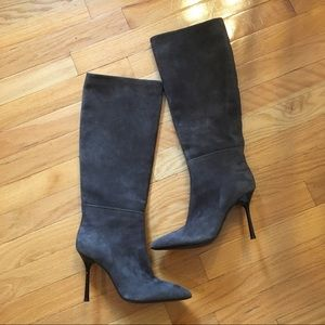 Ma & Lo gray suede knee high heeled boots Italy